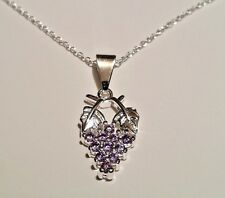 925 Silver Fall Winery Wine Grape Bunch Pendant & Chain Necklace