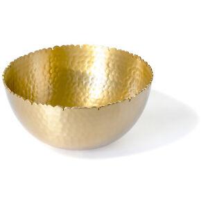 "Decorative Antique Gilded Hand Hammered Metal 8"" Round Aluminum Centerpiece Bowl"