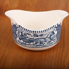 Royal China Currier & Ives Blue Transferware Gravy Boat The Road Winter Sleigh