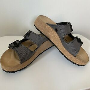 BIRKENSTOCK Papillio Womens Size 38 Gabriela Anthracite Woven Platform Sandal