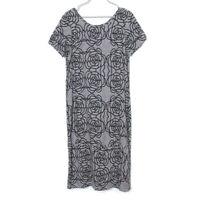 Flax Gray Black Floral Linen Maxi Dress Small