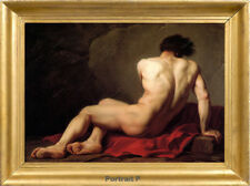 Old Master Art Antique Portrait Male Nude Jacques Louis Oil Painting 30x40 in