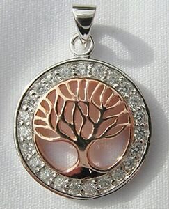 Sterling Silver 925  Tree Of Life In  Circle Pendant  !!    Brand  New  !!