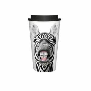 NEW - Black/White Novelty Zebra Travel Mug Tea/Coffee Reusable Hot Cold Drinks