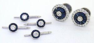 W designer signed Platinum 8.50CT VS1/F diamond sapphire cufflink shirt stud set