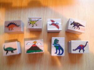 Vintage Wooden Dinosaur Ink Stamp T-Rex Apatosaurus Triceratops Melissa & Doug