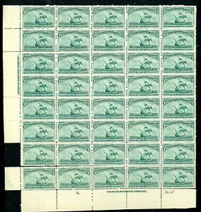 1893 COLULMBIAN 3¢ #232 BOTTOM LEFT BLOCK OF 40, PERF SEPS. $3775 as singles