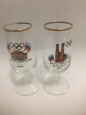 2 Olympic 1972 Germany XX Olympiade Muchen Beer Glasses Gold Trim