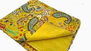 Kantha Quilt Twin Size Reversible Floral Cotton Bed Spread Bedding Blanket N