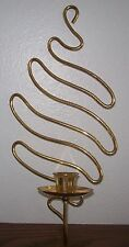 Heavy Brass Modern Danish Style Candle Holder Wall Sconce Squiggles EUC