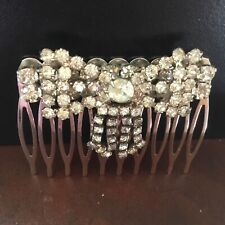 Wedding hair comb with clear vintage dangling rhinestone bow jewelry piece