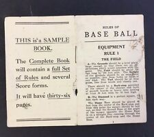 Rare 1900's Baseball Rules Book Sample Book Used By Salesmen Vintage