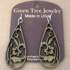 FLORAL TEAR DROP laser-cut wood earrings Green Tree Jewelry APPLE GREEN 1243