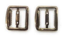 "2 - 3/4"" Vest Buckle / Suspender Slide Adjusters with Teeth -Bronze Plated"