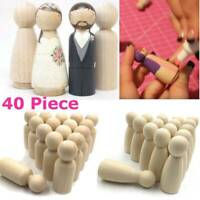 40Pcs Wood Peg Doll Family Set Natural DIY Wooden Craft Dolls Decor Female/Male