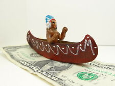 "CELLULOID INDIAN in 4"" Canoe, Vintage 1940s-1950s Toy Travel Souvenir, Japan"