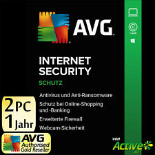 AVG Internet Security 2020 2 PC FULL VERSION (1+1) Premium Antivirus DE NEW