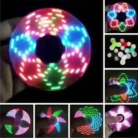 LED Flash Light Fidget Hand Spinner Finger EDC ADHD 18 Pattern Changing Toys ST