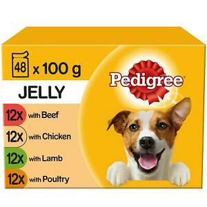 48 x 100g Pedigree Adult Wet Dog Food Pouches Mixed Selection in Jelly