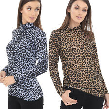 LADIES LONG SLEEVE STRETCH POLO TURTLE ROLL NECK TOP ANIMAL LEOPARD PRINT 8 - 20