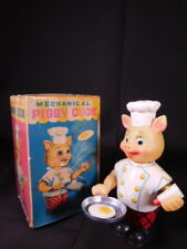 RARE original vintage tin toy wind up mechanical PIGGY COOK Mint In The Box
