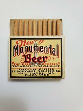 Rare Minty Pullquick Monumental Beer Cover Ale Beer Matchbook Baltimore Maryland