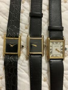 3 Vintage Tank Cartier 18K Gold ELECTROPLATED Watch Ladies