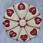 Antique Game Board Wheel Michigan Rummy Folk Art AAFA Outsider Hearts Primitive