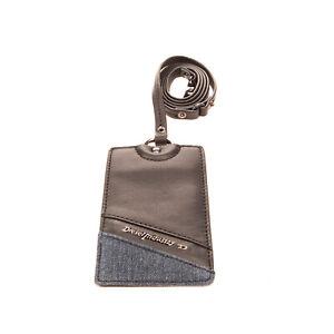 "DIESEL ""DAILY DNA"" BEGGIAMY Leather ID Badge Card Holder Denim Trim Long Strap"