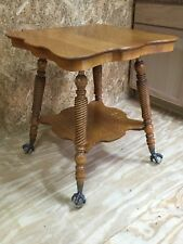 Antique Tiger Oak Parlor Lamp End Side Table With Glass Ball U0026 Claw Feet