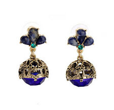 NEW * Signature Anthropologie Victorian Royal Blue Strobe Gold Earrings