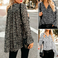ZANZEA Womens Long Sleeve Leopard Print Tops Shirts High Low Loose Tunic Blouse
