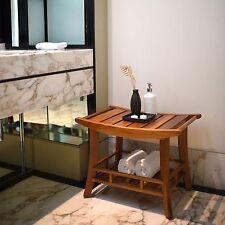 Teak Shower Bench with Shelf Wood Bathroom Storage Spa Essentials Decor Durable