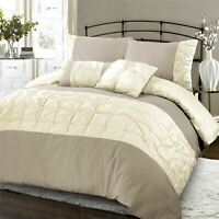 Jones Confection Embellished Pintuck Duvet Quilt Cover Bedding Set Taupe & Cream