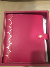 Kikki K Large A5 Cherry Burgundy Gold Honey Comb Leather Saffiano Planner Agenda