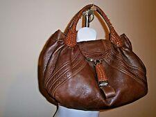 Fendi Spy Bag Made in Italy Brown Leather Dual Woven Top Handle Satchel Handbag