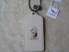 ~COACH Lanyard Luggage Tag Signature Mickey Mouse Leather White NWT!~