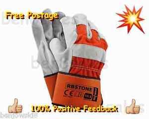 1 2 3 4 5 Leather Work Gloves Strong Wear Fleece Lined Mens Orange Grey Garden