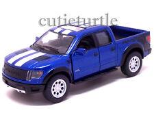Kinsmart Ford 2013 F-150 SVT Raptor Supercrew Pick Up Truck 1:46 Blue w Stripes