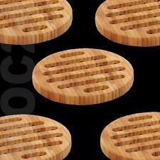 Holzuntersetzer für Pfanne Topf Topfuntersetzer Untersetzer Bambus Holz rund
