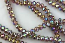 72 pcs 8mm Chinese Crystal Glass Beads Faceted Rondelle Dark Purple Quartz AB
