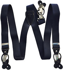 New in box Men's Suspender Navy blue Braces elastic clips buttons casual