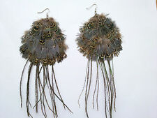 Costume Jewellery Natural Peacocok Drop Feather Earrings E60