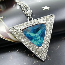 XXL Lang Dreiecke Anhänger Damen Kette Halskette Strass Silber Blau 150