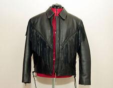 Womens Leather Motorcycle Fringed Jacket Black Antelope Creek Large