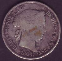 Monete 40 Centesimi Di Scudo Isabel II - Anno 1866 - Real Madrid