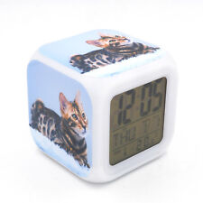 Bengal cat Kitty Led Alarm Clock Creative Desk Digital Clock for Adults Kids Toy