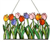 "18"" x 11"" H Tiffany style stained glass Floral Garden of Tulips window Panel"
