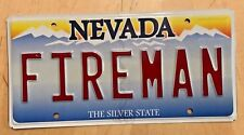 "NEVADA VANITY LICENSE PLATE "" FIREMAN "" FIRE FIREFIGHTER VOLUNTEER  IAFF  FLAMES"
