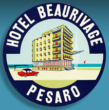 ALTER KOFFERAUFKLEBER | LUGGAGE LABEL 50er HOTEL BEAURIVAGE PESARO | ITALY FIAT